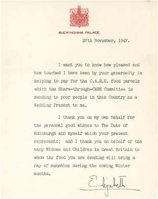Queen Elizabeth II Signed Thank You Note