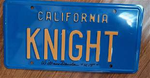 William Daniels Signed License Plate