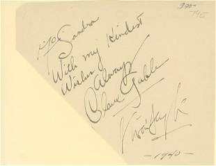 Clark Gable and Vivien Leigh signed autograph page