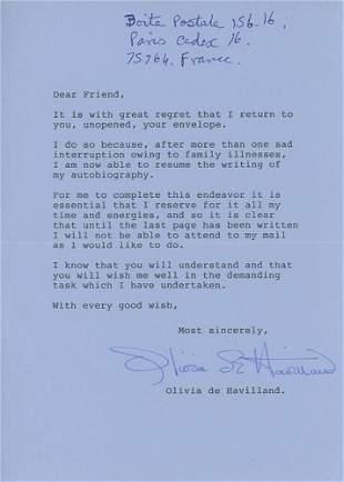 Olivia DeHavilland signed letter