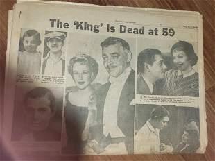 Clark Gable death newspaper