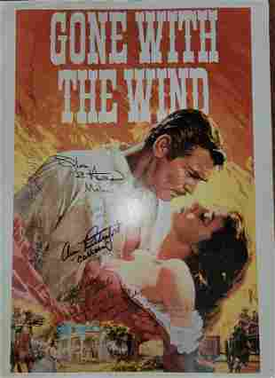 RARE Gone with the Wind poster cast signed