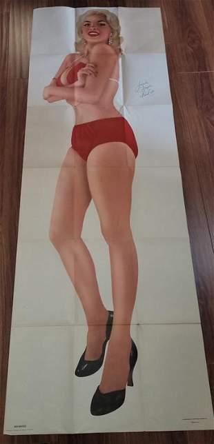 Jayne Mansfield RARE signed door poster