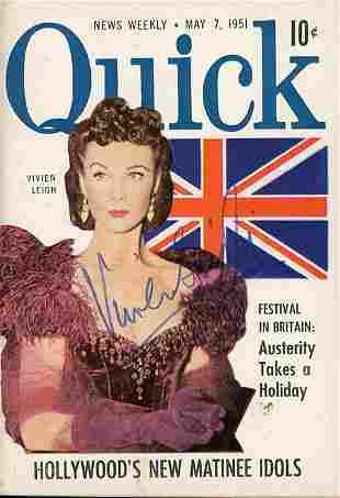 Vivien Leigh signed Quick magazine as Scarlett O'Hara