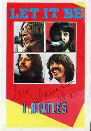 John Lennon Let it Be signed postcard