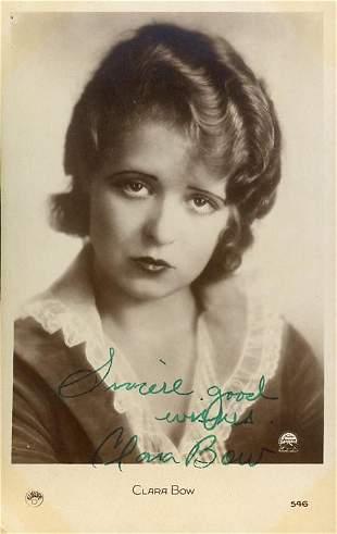 Clara Bow signed postcard image