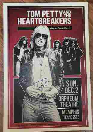 Tom Petty signed concert poster