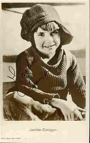 Jackie Coogan signed postcard photograph