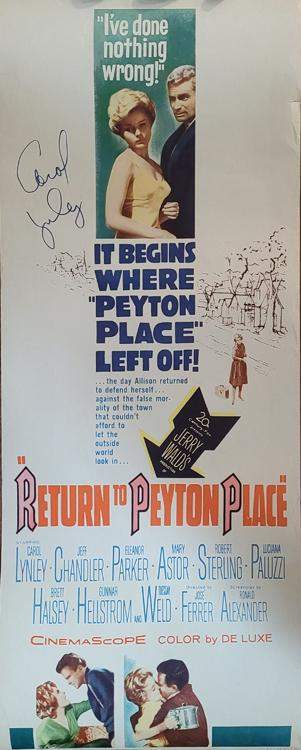 Return to Peyton Place insert signed