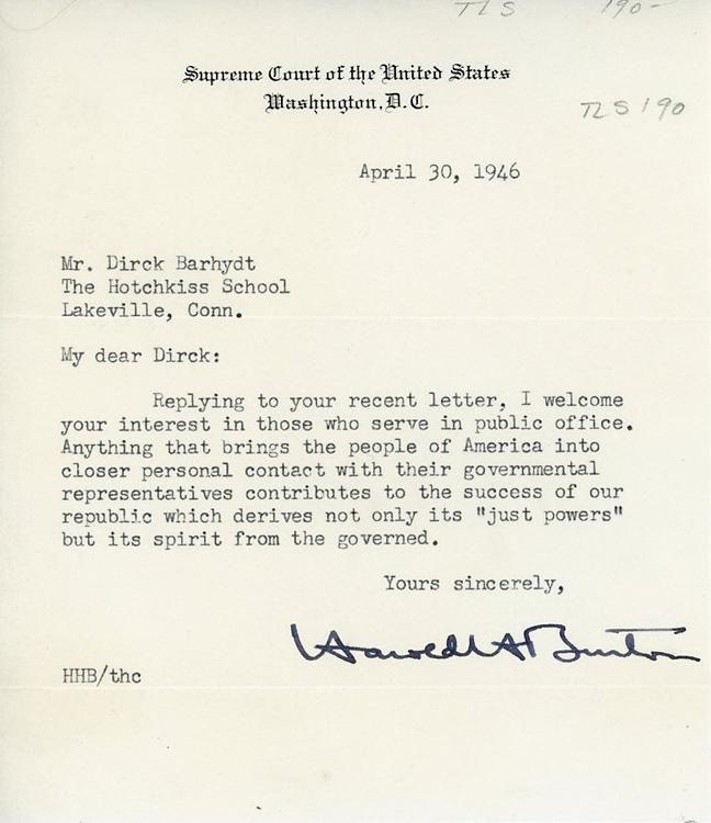 Harold Burton letter signed