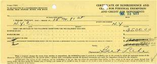 Bert Lahr rare document signed