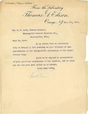 Thomas Edison HISTORIC letter signed