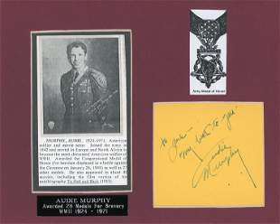 Audie Murphy signed page