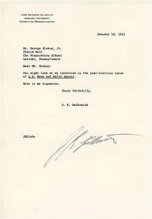 J Kenneth Galbraith signed letter