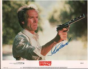Clint Eastwood Sudden Impact signed lobby card 11x14