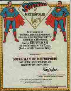 Superman rare print certificate signed by both creators
