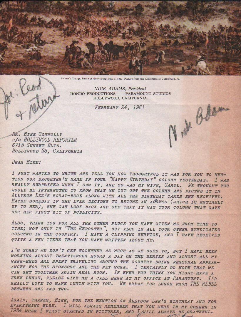 Nick Adams RARE signed letter