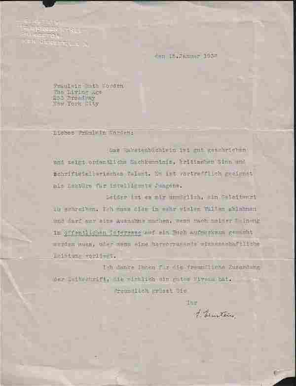 Albert Einstein typed letter signed