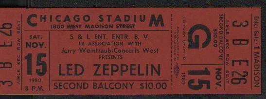 Rare complete ticket from last concert before John