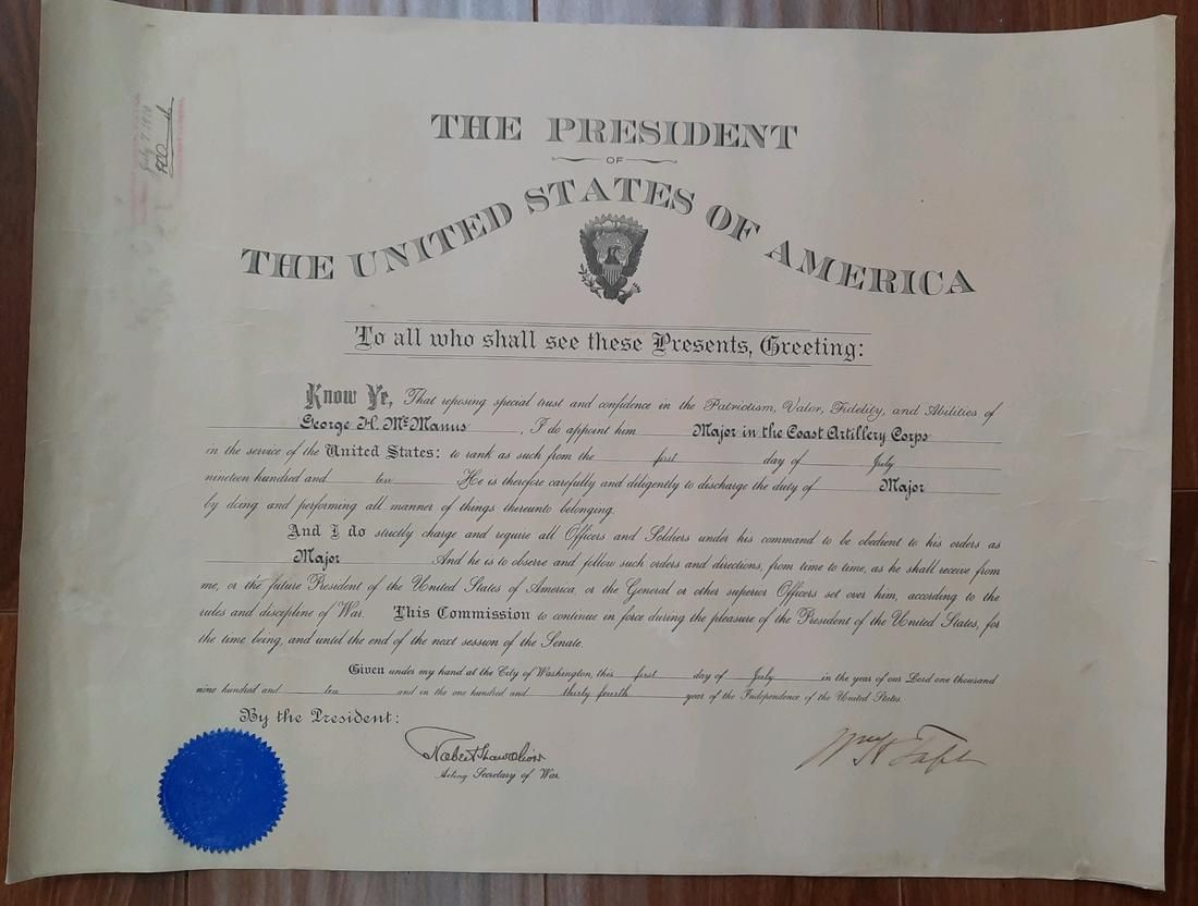 A nice large document signed as President with COA
