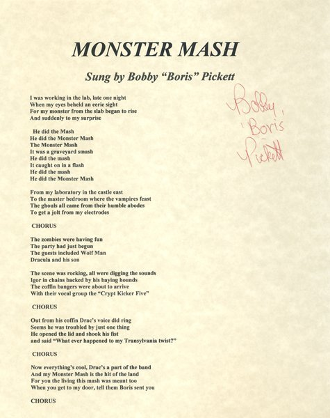 "Bobby ""Boris"" Pickett Signed ""Monster Mash"" Lyrics"