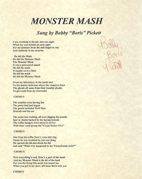 "Bobby ""Boris"" Pickett Signed ""Monster Mash"" Lyrics"