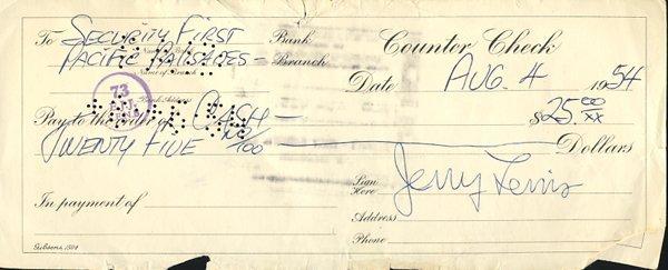 Jerry Lewis 1954 Handwritten Check