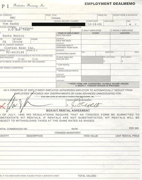 "Tom Hanks Signed ""Conan"" Contract"