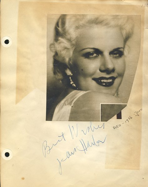 Jean Harlow Signed Page