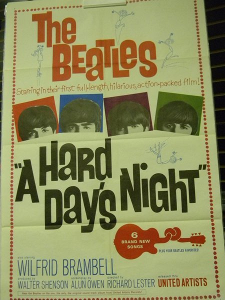 """""""The Beatles"""" Original """"A Hard Day's Night"""" One Sheet P"""