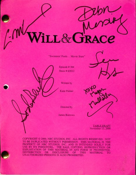 """""""Will and Grace"""" Cast Signed Script"""