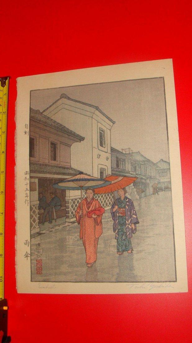 Japanese Woodblock print Toshi Yoshida Pencil Signed
