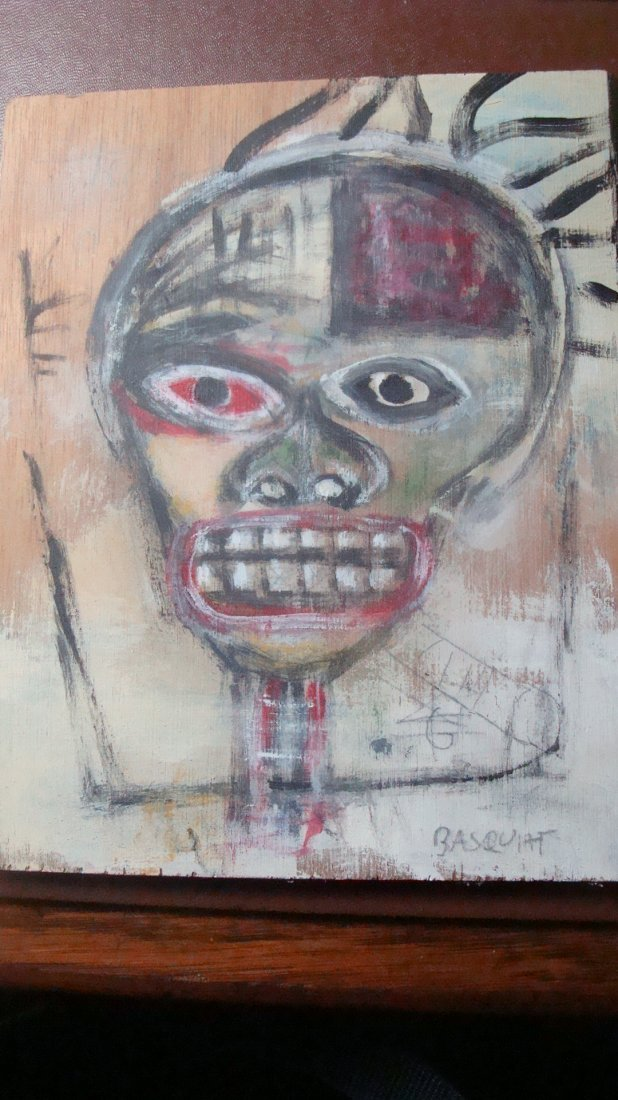 Early Basquiat on wood panel - self portrait