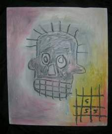 Basquiat ~ Painting on wood panel (Untitled)