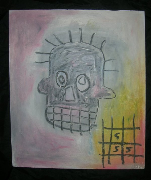 Basquiat ~ Painting on wood panel (Untitled)