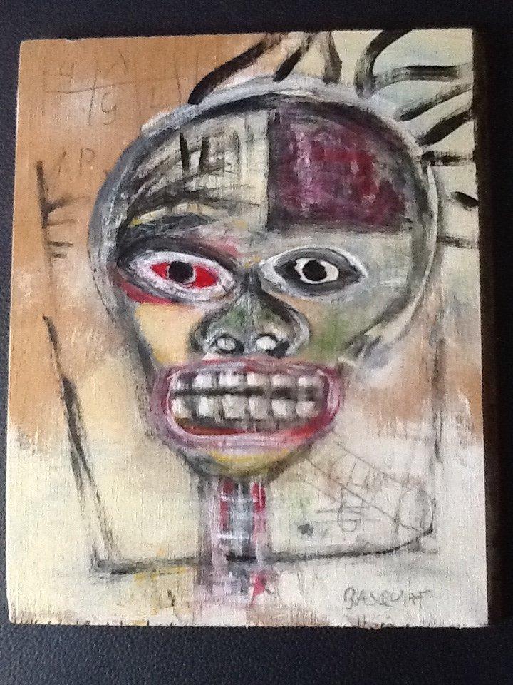 Basquiat ~ Painting on wood (Untitled) (Self Portrait)