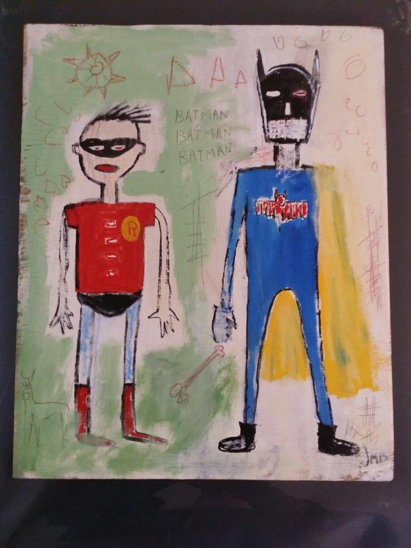 Basquiat ~ Painting on wood panel  (Untitled) Batman