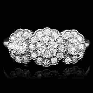 $7600 CERTIFIED 14K WHITE GOLD 1.3CT DIAMOND RING