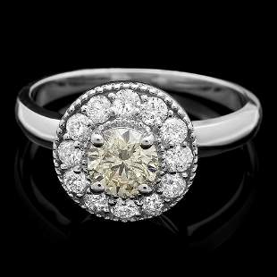 $4900 CERTIFIED 14K WHITE GOLD 1.1CT DIAMOND RING