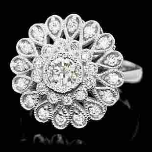 $6800 CERTIFIED 14K WHITE GOLD 1.5CT DIAMOND RING