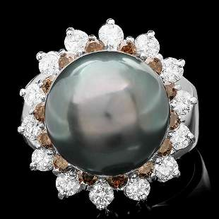 $8900 CERTIFIED 14K WHITE GOLD 13MM PEARL 1.5CT DIAMOND