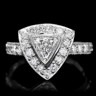 $6000 CERTIFIED 14K WHITE GOLD 1.3CT DIAMOND RING