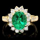 $11500 CERTIFIED 14K YELLOW GOLD 2.65CT EMERALD 1.10CT