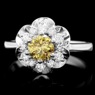 $7500 CERTIFIED 14K WHITE GOLD 1.1CT DIAMOND RING