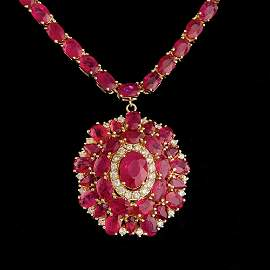 $37800 CERTIFIED 14K YELLOW GOLD 52.5CT RUBY 0.75CT