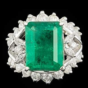 $27300 CERTIFIED 14K WHITE GOLD 7.00CT EMERALD 1.6CT