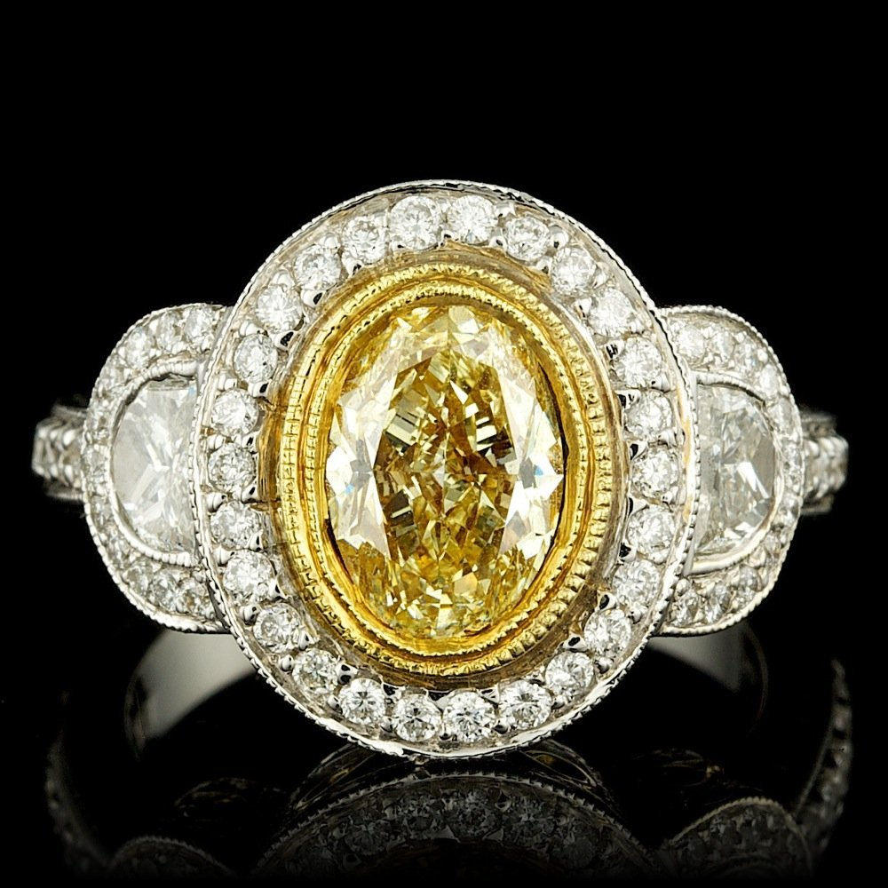 GIA 18k Multi-Tone Gold 2.99ct Diamond Ring