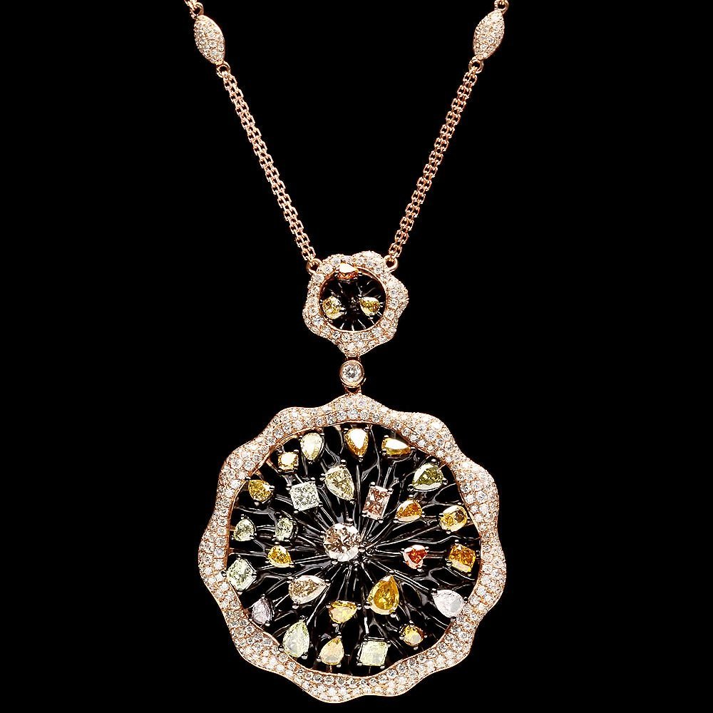 18k Rose Gold 8.8ct Diamond Necklace
