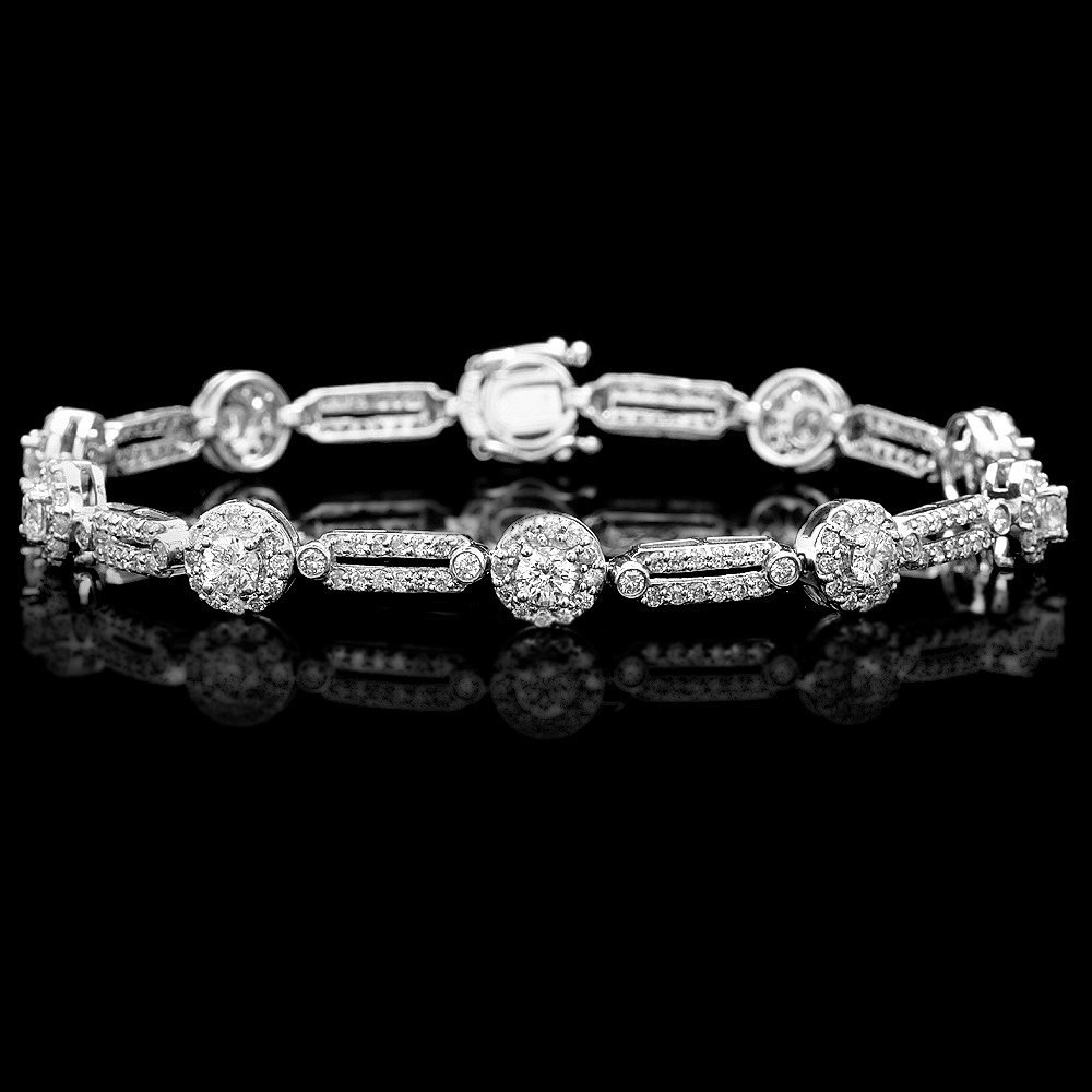 14k White Gold 3.5ct Diamond Bracelet