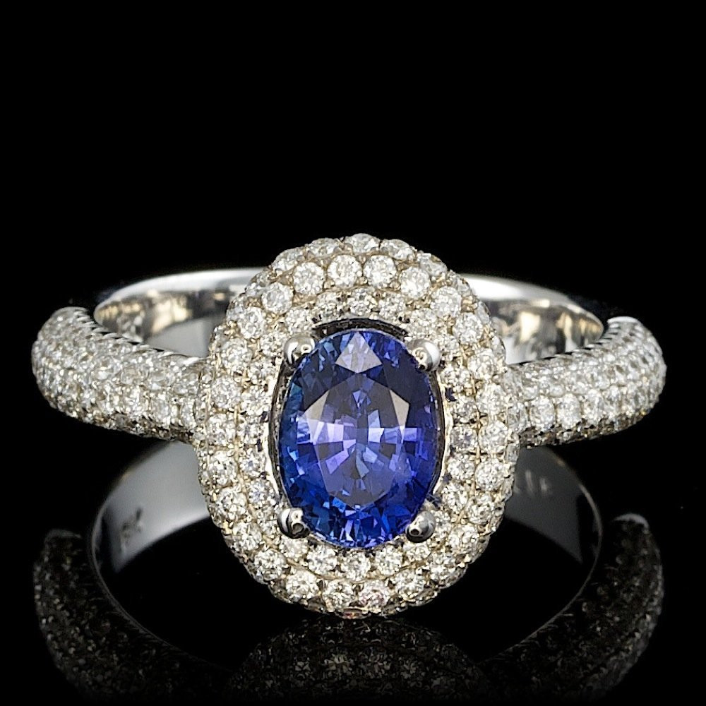 18k Gold 1.30ct Sapphire 1.30ct Diamond Ring